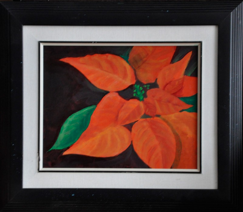 "Get the Poinsettia, 10"" x 12"" O/C - $125.00"