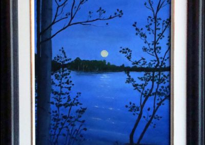 """Moonrise over the lake, 11""""x14"""" O/C - SOLD"""