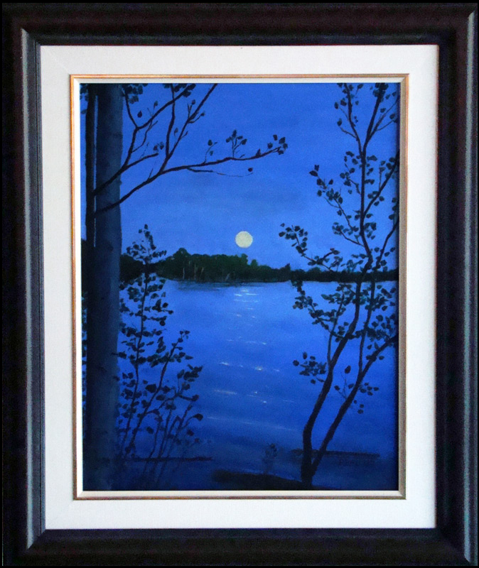 "Moonrise over the lake, 11""x14"" O/C - SOLD"