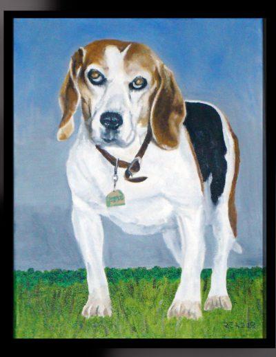 "Belle, my childhood dog, 11"" x 14"", O/C"