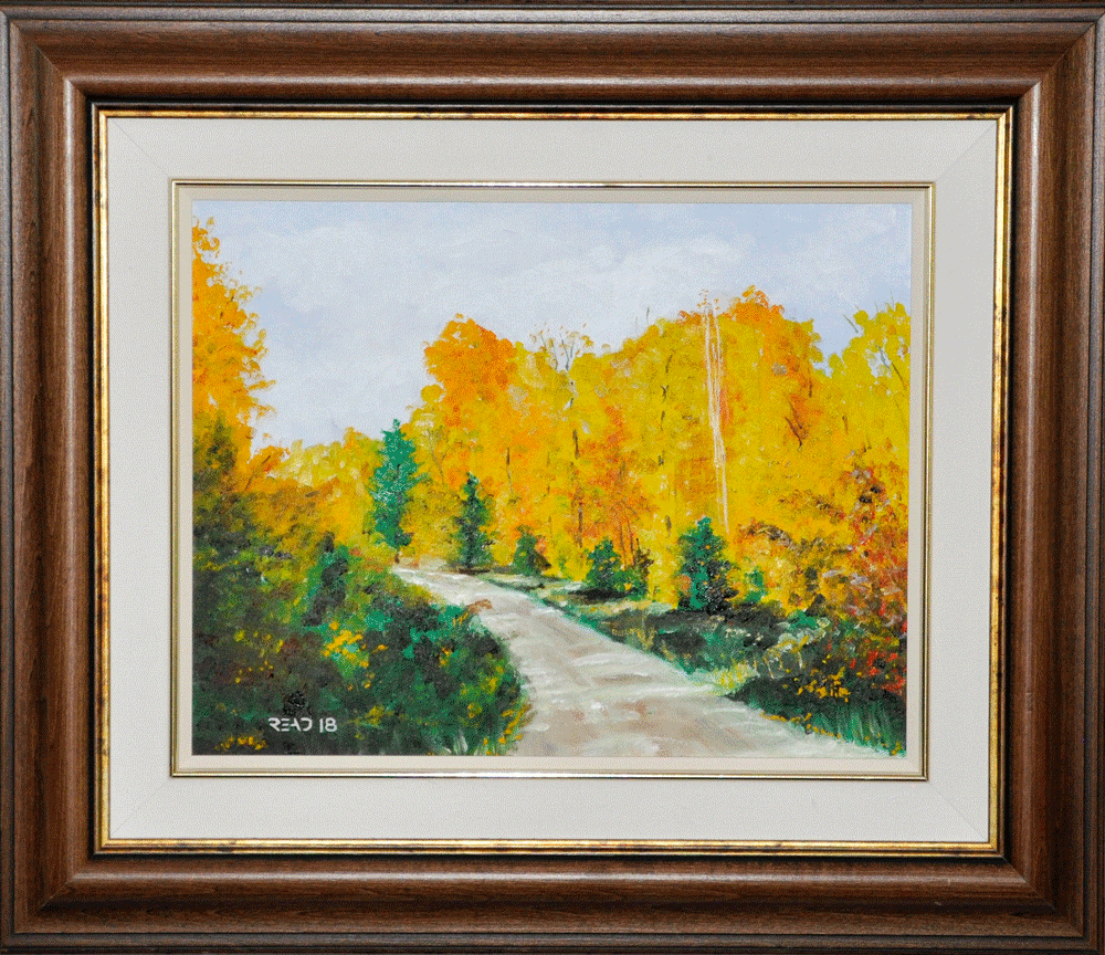 "Down the road, a peace, 11"" x 14"", O/C - $140.00"