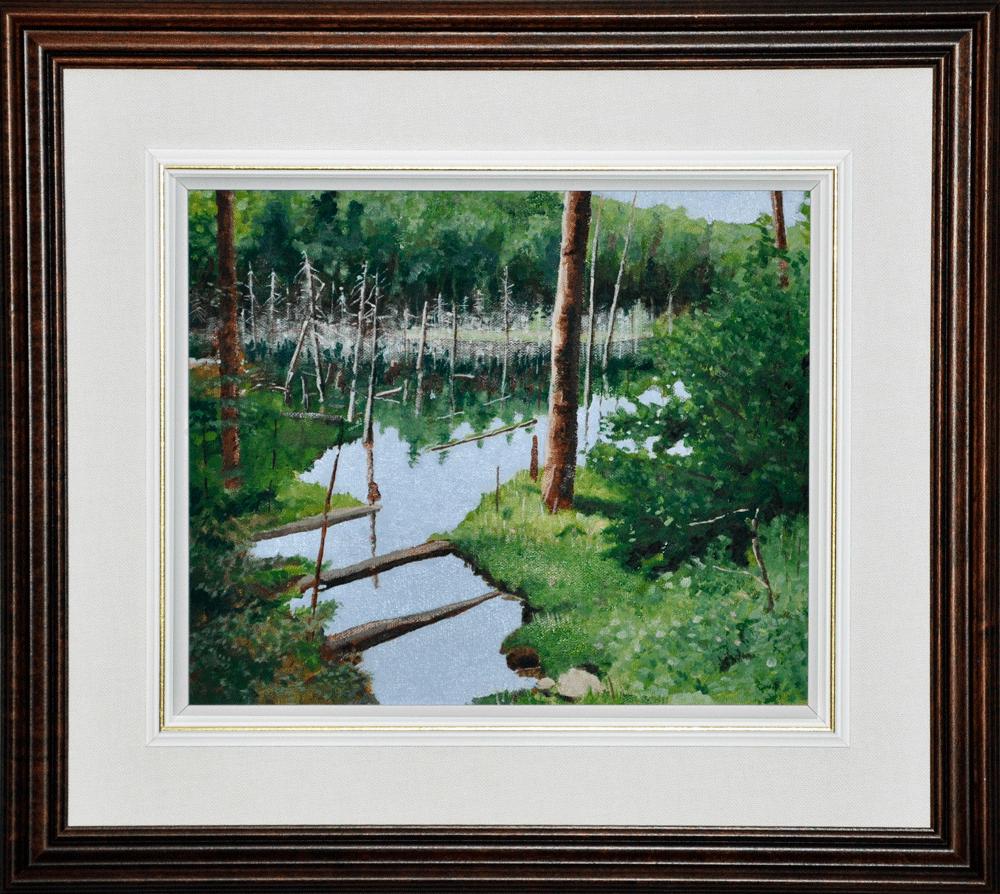 """The Beaver Pond, 10"""" x 12"""" O/C - $150.00"""